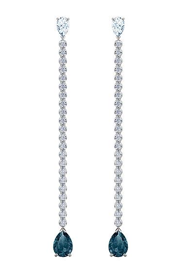 Swarovski Jewelry, Vintage Pierced Earrings Long Pear Mont Rhodium Silver
