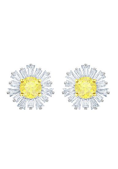 Swarovski Sunshine Pierced Earrings, White, Rhodium