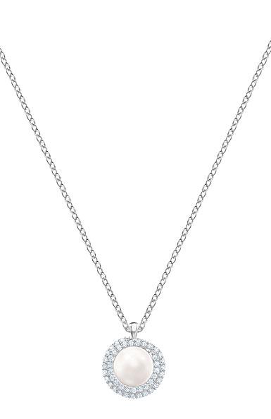 Swarovski White Crystal, Pearl and Rhodium Originally Pendant Necklace