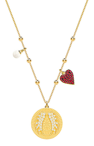 Swarovski Jewelry, Lucky Goddess Necklace Wings Multi Colored Gold