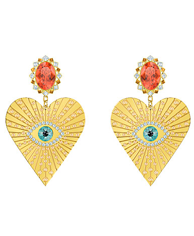 Swarovski Jewelry, Lucky Goddess Clip Earrings Heart Multi Colored Gold