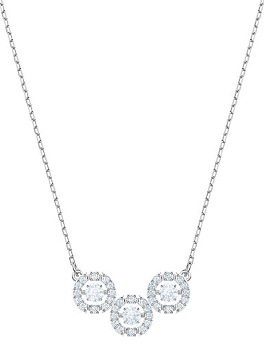 Swarovski Sparkling Dance Trilogy Necklace, White, Rhodium