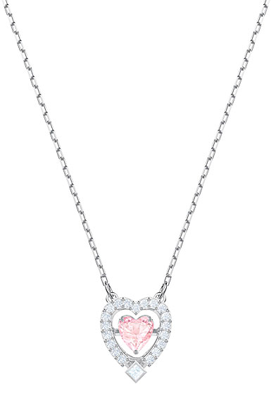Swarovski Sparkling Dance Heart Necklace, Pink, Rhodium