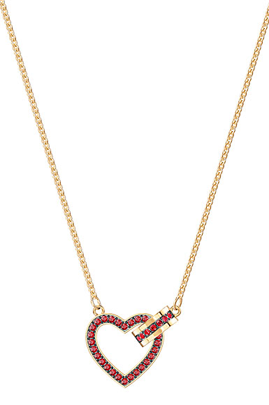 Swarovski Jewelry, Lovely Siam Red and Gold Heart Necklace