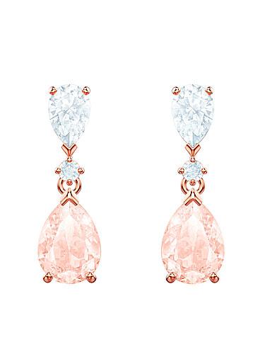 Swarovski Jewelry, Vintage Pierced Earrings Pear Pink Crystal Rose Gold