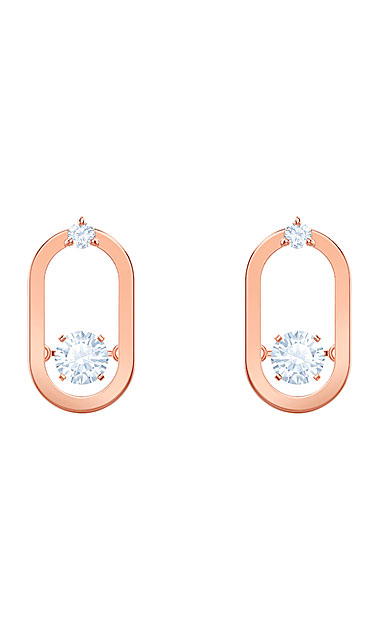 Swarovski Sparkling Dance Pierced Earrings, White, Rose Gold