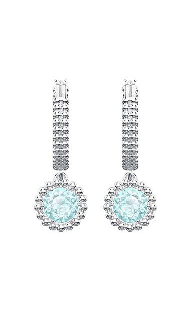 Swarovski Jewelry, Oxygen Pierced Earrings Hoop Green Rhodium Silver