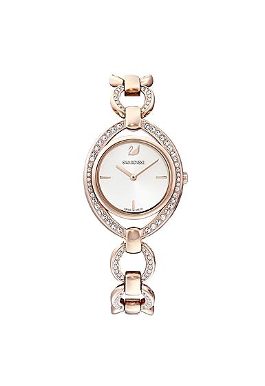 Swarovski Stella Watch, Metal bracelet, White, Rose Gold