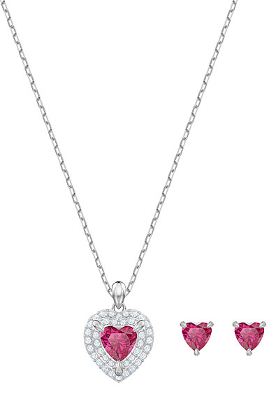 Swarovski Jewelry, One Set Red Crystal Rhodium Silver