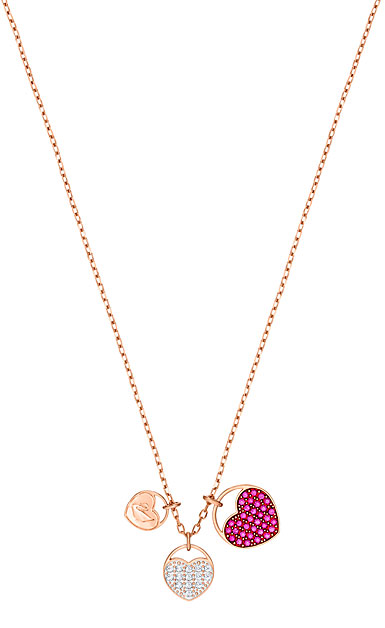 Swarovski Jewelry, Ginger Pendant Heart Fuchsia Crystal Rose Gold