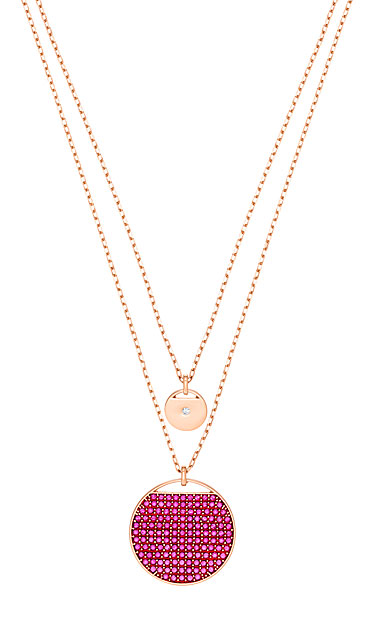 Swarovski Jewelry, Ginger Pendant Layer Fuchsia Crystal Rose Gold