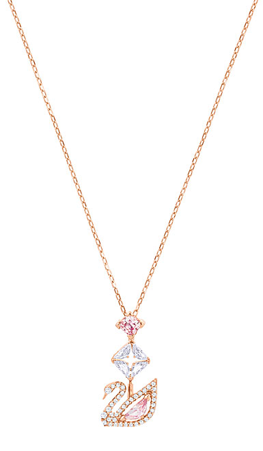 Swarovski Dazzling Swan Y Necklace, Multi Colored, Rose Gold