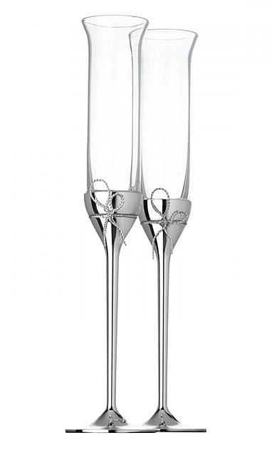 Vera Wang Wedgwood, Crystal and Silver Love Knots Toasting Crystal Flutes, Pair