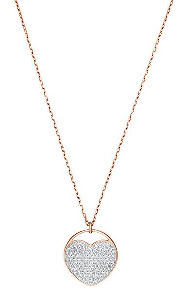 Swarovski Jewelry, Ginger Pendant Heart Medium Crystal Rose Gold