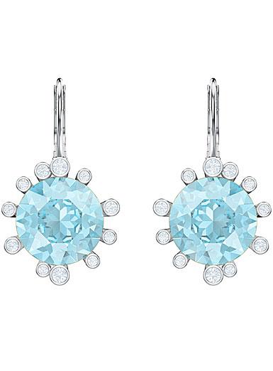 Swarovski Jewelry, Olive Pierced Earrings Drop Round Aqua Rhodium Silver