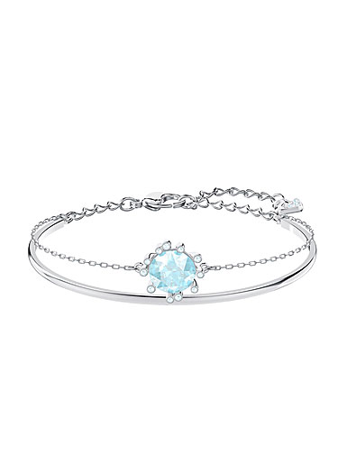 Swarovski Jewelry, Olive Bangle Round Aqua Crystal Rhodium Silver Medium