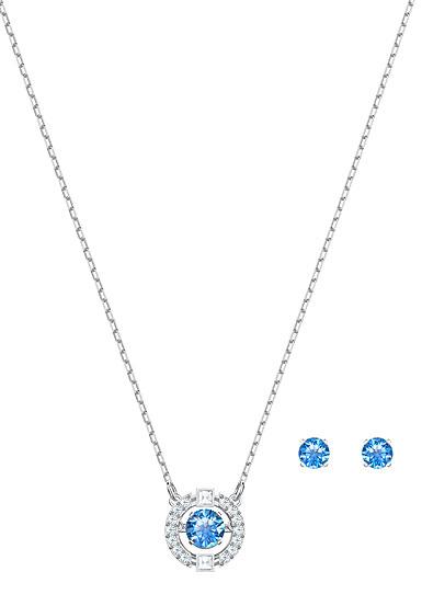 Swarovski Jewelry, Sparkling Set Round Blue Crystal Rhodium Silver