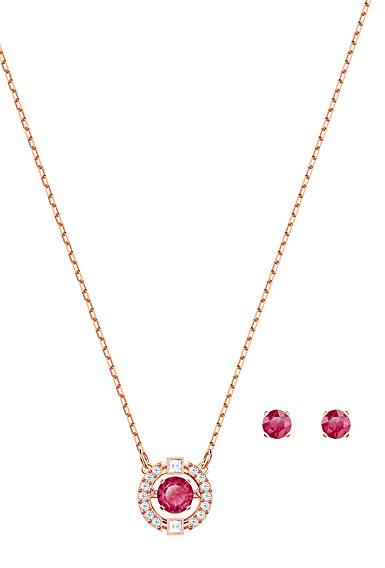 Swarovski Jewelry, Sparkling Set Round Red Crystal Rose Gold