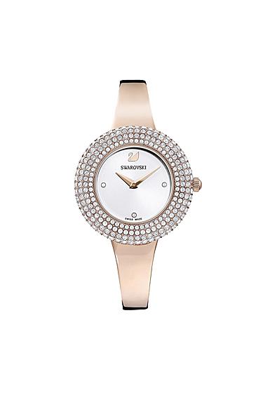 Swarovski Crystal Rose Watch, Metal Bracelet, White, Rose Gold