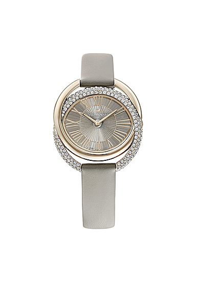 Swarovski Duo Watch, Leather Strap, Gray, Champagne-gold tone