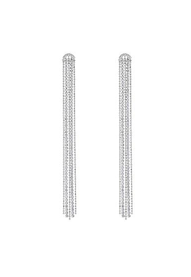 Swarovski Fit Pierced Tassell Earrings, White, Rhodium