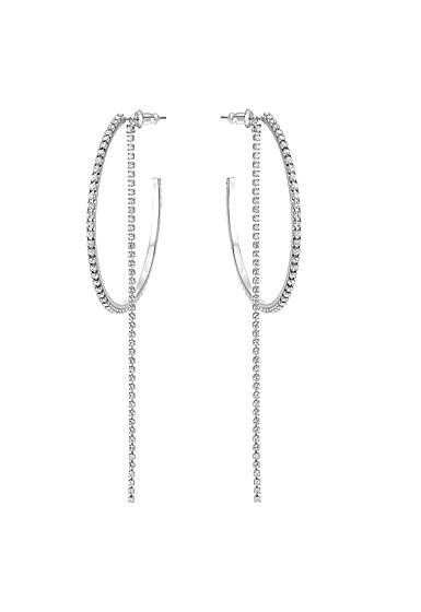 Swarovski Fit Hoop Pierced Earrings, White, Stainless steel