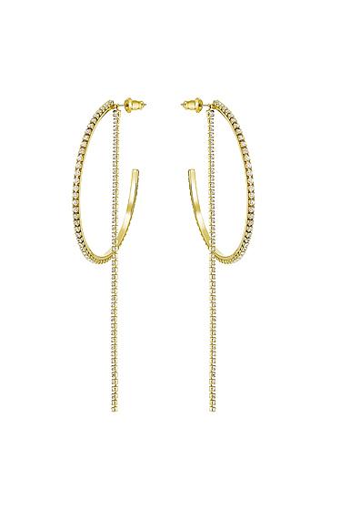 Swarovski Fit Hoop Pierced Earrings, White, Gold