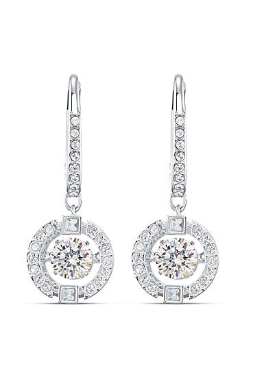 Swarovski Sparkling Dance Pierced Earrings Drop Crystal Rhodium Silver