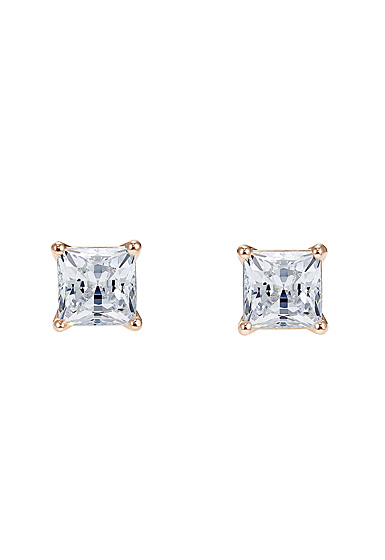 Swarovski Attract Pierced Earrings, White, Rose Gold
