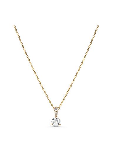 Swarovski Necklace Solitaire Pendant 7mm Gold