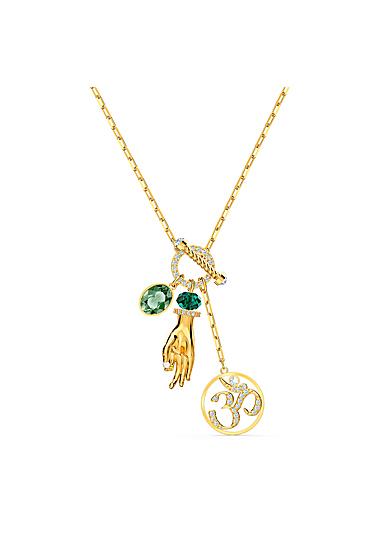 Swarovski Necklace Symbol Pendant Hand Ohm Light Multi Gold