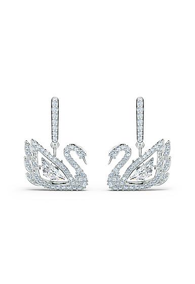 Swarovski Dancing Swan Pierced Earrings Crystal Rhodium Silver