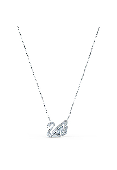 Swarovski Necklace Dancing Swan Necklace Crystal Rhodium Silver