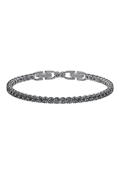 Swarovski Tennis Deluxe Bracelet, Gray, Ruthenium