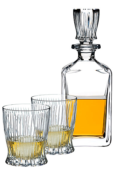Riedel Fire Whiskey Gift Set, Decanter with stopper and 2 Tumblers
