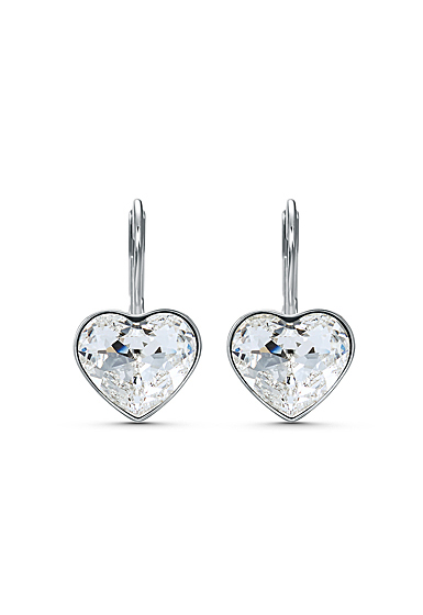 Swarovski Bella Pierced Earrings Heart S Crystal Rhodium Silver