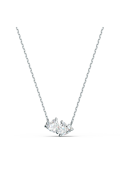 Swarovski Rhodium Silver and Crystal Attract Soul Heart Necklace