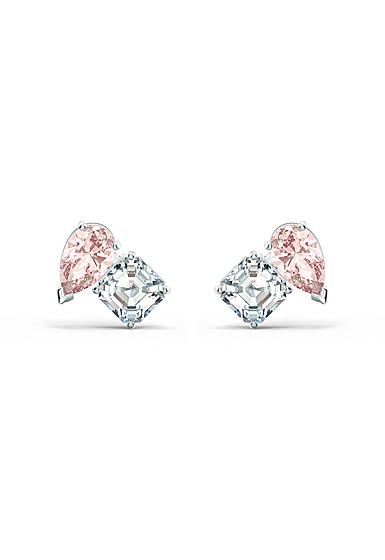 Swarovski Attract Soul Pierced Earrings Pink Crystal Rhodium Silver