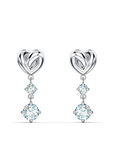 Swarovski Lifelong Heart Pierced Earrings Dangle Crystal and Rhodium Silver