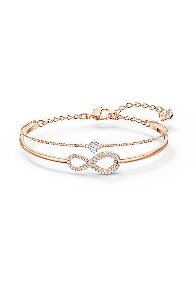 Swarovski Bracelet Infinity Bangle Chain Crystal Rose Gold M