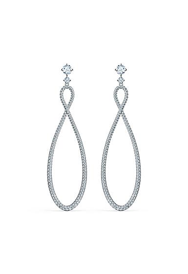 Swarovski Infinity Pierced Earrings Hoop Crystal Rhodium Silver