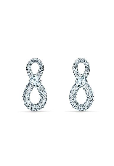 Swarovski Infinity Pierced Earrings Mini Crystal Rhodium Silver
