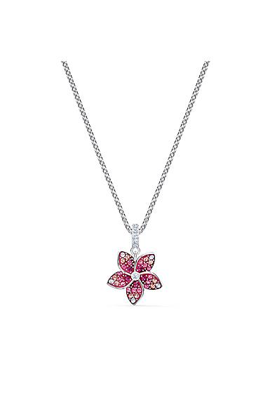 Swarovski Necklace Tropical Pendant Flower Light Multi Rhodium Silver