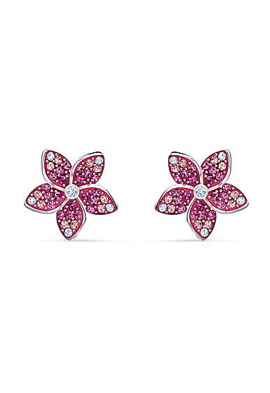 Swarovski Tropical Pierced Earrings Flower Light Multi Rhodium Silver