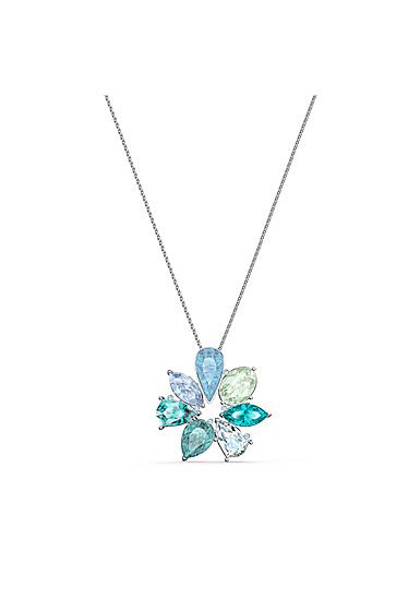 Swarovski Necklace Sunny Pendant Long Flower Dark Multi Rhodium Silver