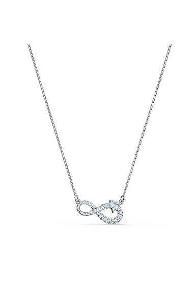 Swarovski Necklace Infinity Necklace Heart Crystal Rhodium Silver