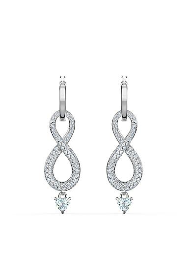 Swarovski Infinity Pierced Earrings Crystal Rhodium Silver