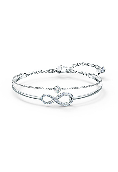 Swarovski Bracelet Infinity Bangle Chain Rhodium Silver M