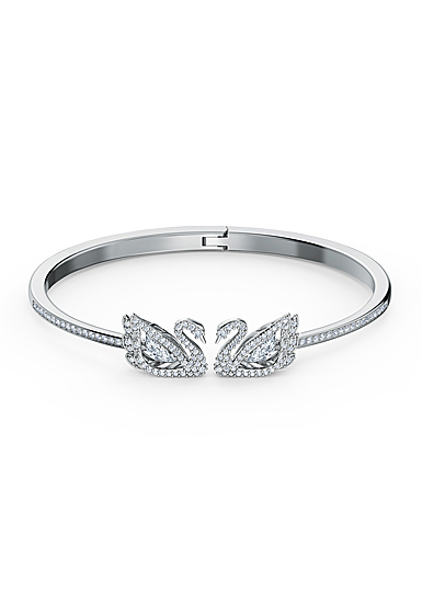 Swarovski Bracelet Dancing Swan Bangle Crystal Rhodium Silver M