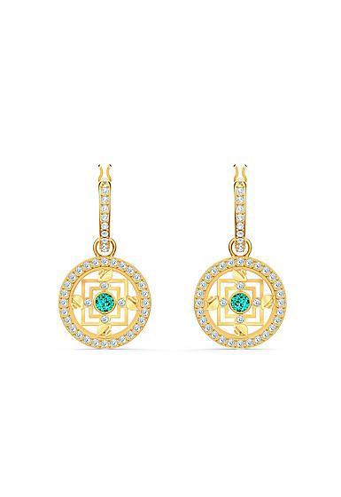 Swarovski Symbol Pierced Earrings Hoop Mandala Gold